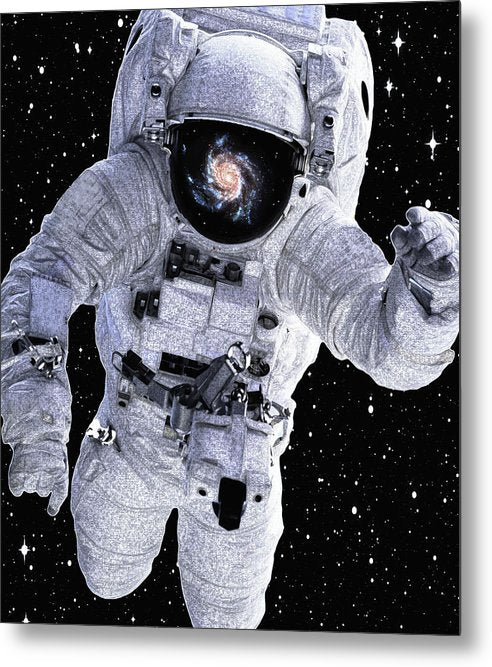 Astronaut With Galaxy Reflected In Helmet - Metal Print from Wallasso - The Wall Art Superstore