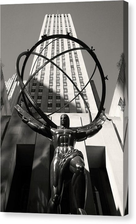 Atlas Statue In Rockefeller Center, New York City - Canvas Print from Wallasso - The Wall Art Superstore