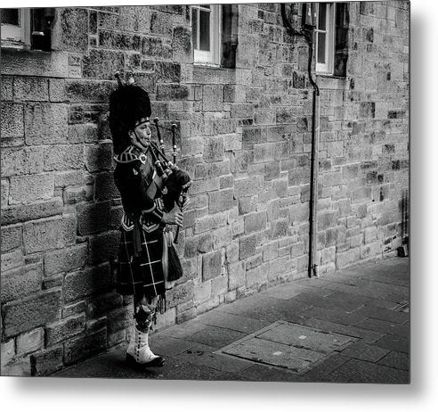 Bagpiper Against Brick Wall - Metal Print from Wallasso - The Wall Art Superstore