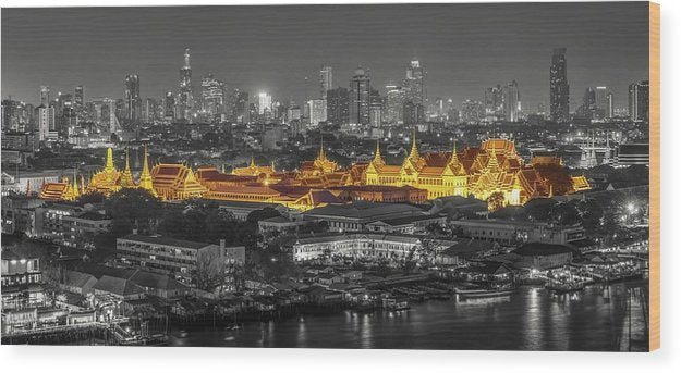 Bangkok Thailand Temple In Isolated Color, Panorama - Wood Print from Wallasso - The Wall Art Superstore