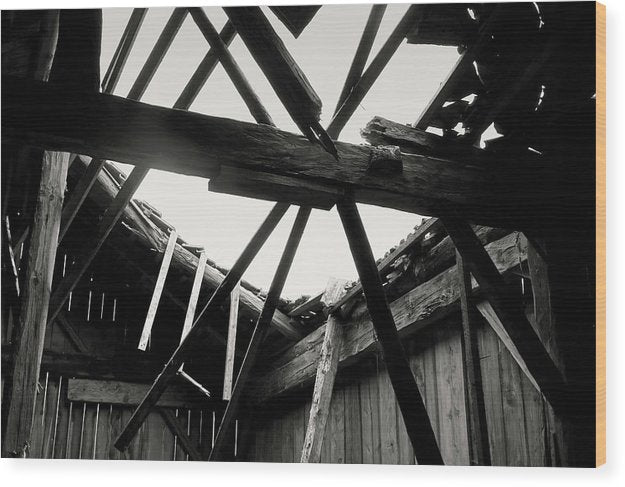 Barn Roof Collapsing - Wood Print from Wallasso - The Wall Art Superstore
