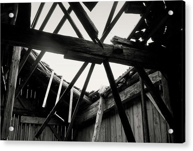 Barn Roof Collapsing - Acrylic Print from Wallasso - The Wall Art Superstore