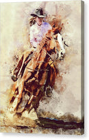 Barrel Racing Cowgirl On Horseback Painting - Canvas Print from Wallasso - The Wall Art Superstore