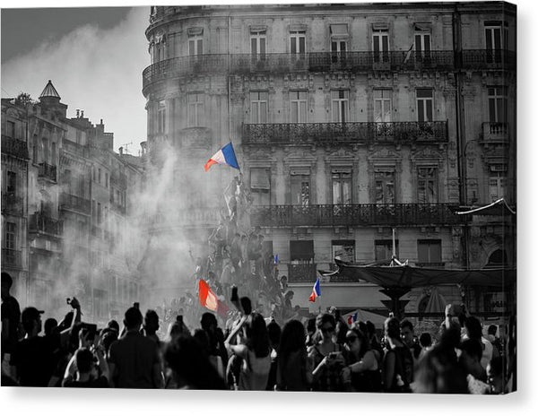 Bastille Day Celebration With French Flag - Canvas Print from Wallasso - The Wall Art Superstore