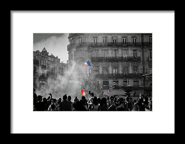 Bastille Day Celebration With French Flag - Framed Print from Wallasso - The Wall Art Superstore