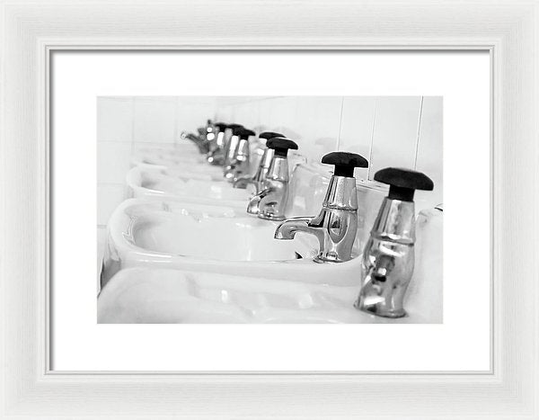 Bathroom Sinks - Framed Print from Wallasso - The Wall Art Superstore