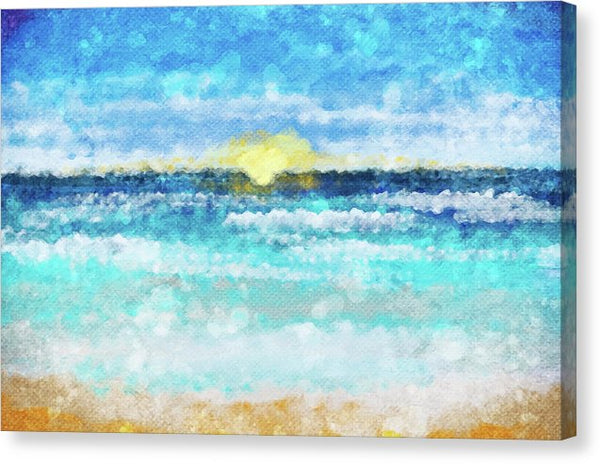 Beach Sunset Watercolor Painting - Canvas Print from Wallasso - The Wall Art Superstore