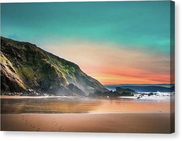 Beach With Teal Sky - Canvas Print from Wallasso - The Wall Art Superstore