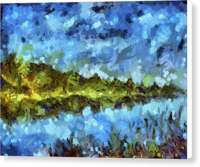 Beautiful Blue and Green Abstract Lake Painting - Canvas Print from Wallasso - The Wall Art Superstore