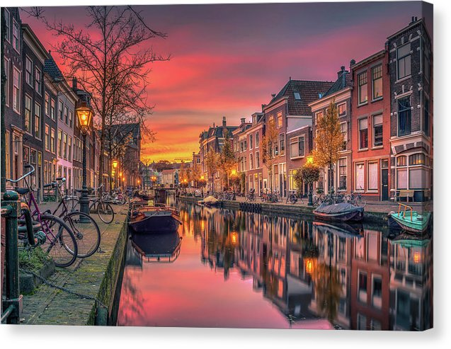 Beautiful European Canal At Sunset - Canvas Print from Wallasso - The Wall Art Superstore
