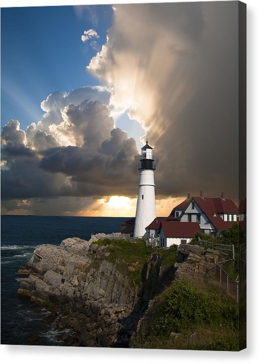 Beautiful Lighthouse With Rays of Sunshine - Canvas Print from Wallasso - The Wall Art Superstore