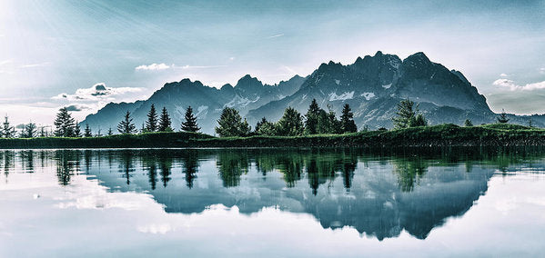 Beautiful Mountain Reflected In Lake - Art Print from Wallasso - The Wall Art Superstore