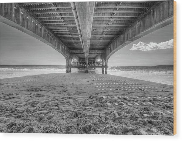 Beautiful Shadow and Texture Under A Pier - Wood Print from Wallasso - The Wall Art Superstore