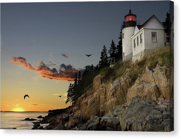 Beautiful Sunset Lighthouse With Birds - Canvas Print from Wallasso - The Wall Art Superstore