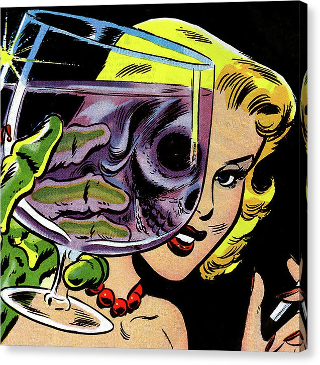 Beautiful Woman Skull, Vintage Comic Book - Canvas Print from Wallasso - The Wall Art Superstore