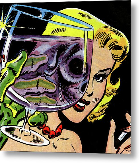 Beautiful Woman Skull, Vintage Comic Book - Metal Print from Wallasso - The Wall Art Superstore