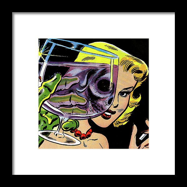 Beautiful Woman Skull, Vintage Comic Book - Framed Print from Wallasso - The Wall Art Superstore