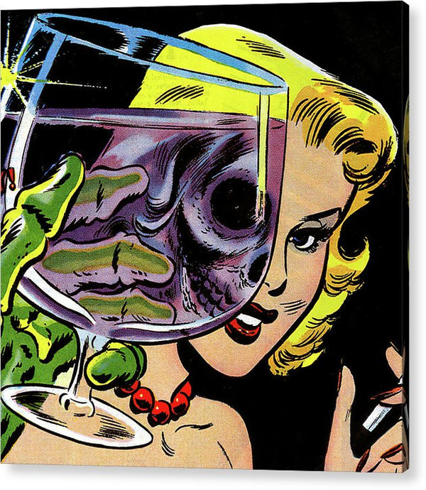 Beautiful Woman Skull, Vintage Comic Book - Acrylic Print from Wallasso - The Wall Art Superstore