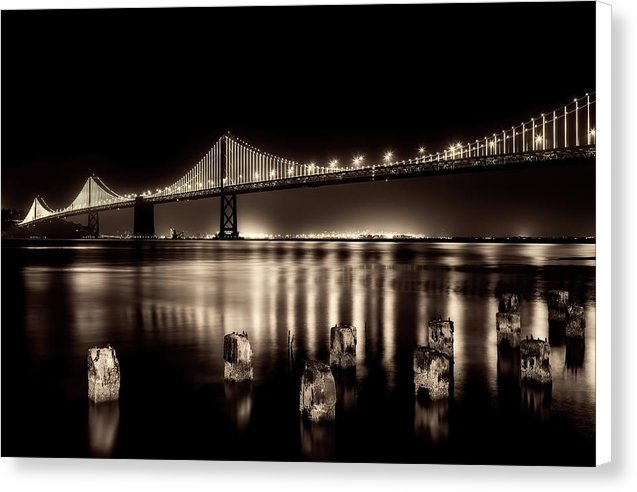 Beautify Sepia Toned Golden Gate Bridge At Night - Canvas Print from Wallasso - The Wall Art Superstore
