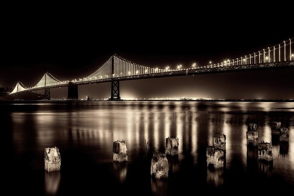 Beautify Sepia Toned Golden Gate Bridge At Night - Art Print from Wallasso - The Wall Art Superstore
