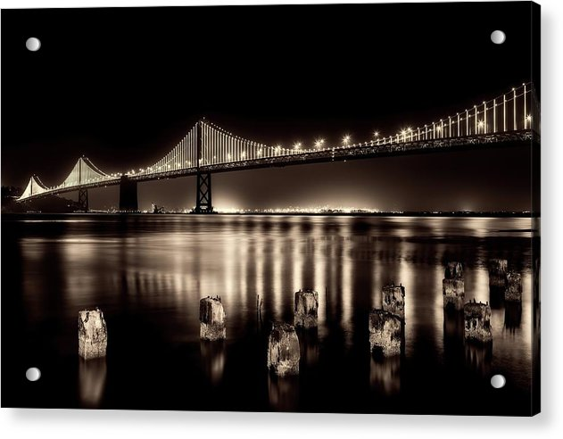 Beautify Sepia Toned Golden Gate Bridge At Night - Acrylic Print from Wallasso - The Wall Art Superstore