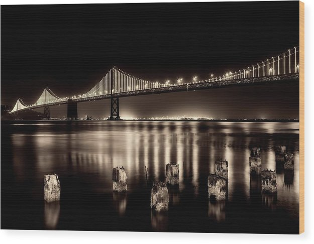 Beautify Sepia Toned Golden Gate Bridge At Night - Wood Print from Wallasso - The Wall Art Superstore