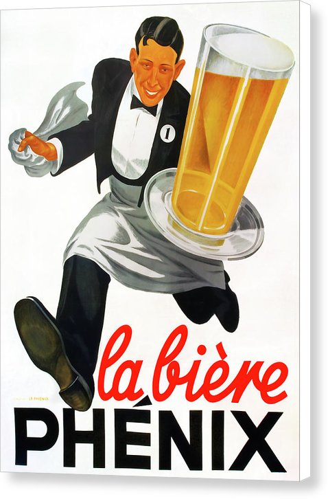 Vintage Beer Poster, La Biere Phenix - Canvas Print from Wallasso - The Wall Art Superstore