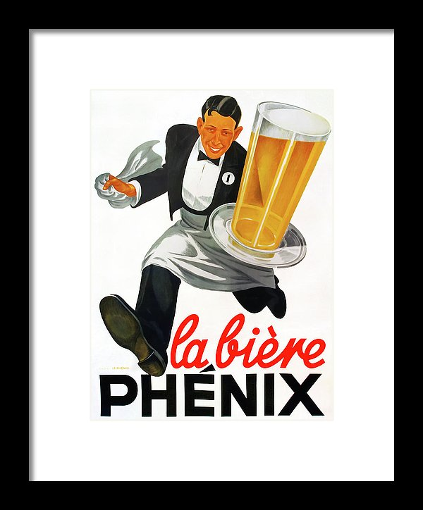 Vintage Beer Poster, La Biere Phenix - Framed Print from Wallasso - The Wall Art Superstore