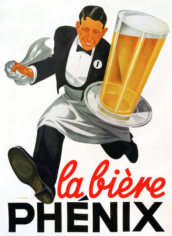 Vintage Beer Poster, La Biere Phenix - Art Print from Wallasso - The Wall Art Superstore