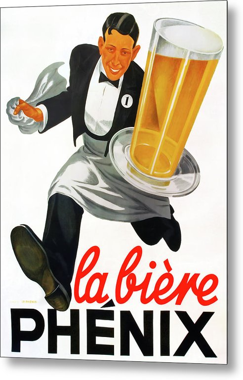 Vintage Beer Poster, La Biere Phenix - Metal Print from Wallasso - The Wall Art Superstore