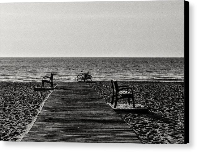 Bicycle At End of Boardwalk On Sandy Beach - Canvas Print from Wallasso - The Wall Art Superstore