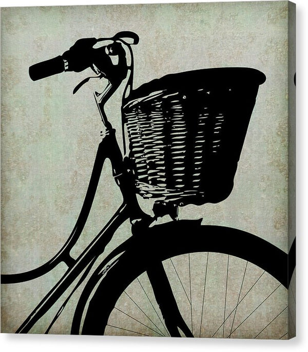 Bicycle Basket Silhouette - Canvas Print from Wallasso - The Wall Art Superstore