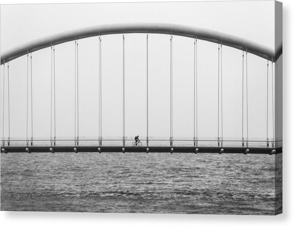 Bicycle Crossing Bridge - Canvas Print from Wallasso - The Wall Art Superstore