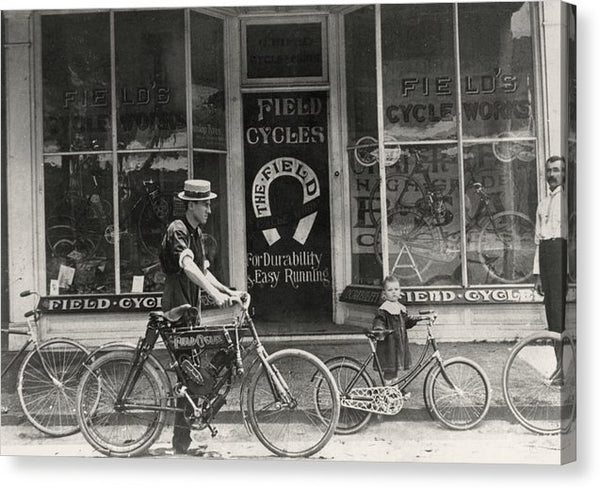 Antique Bicycle Shop Storefront - Canvas Print from Wallasso - The Wall Art Superstore