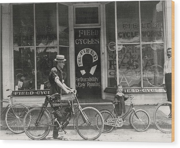 Antique Bicycle Shop Storefront - Wood Print from Wallasso - The Wall Art Superstore