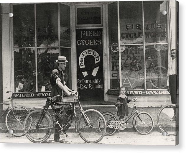 Antique Bicycle Shop Storefront - Acrylic Print from Wallasso - The Wall Art Superstore