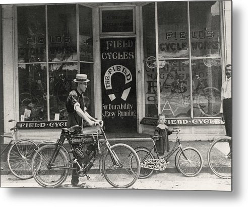 Antique Bicycle Shop Storefront - Metal Print from Wallasso - The Wall Art Superstore