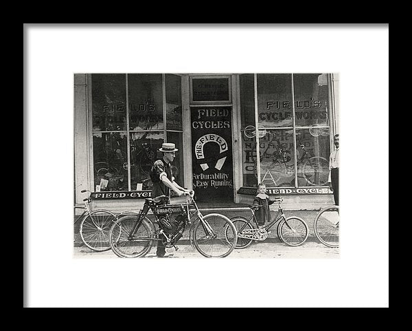 Antique Bicycle Shop Storefront - Framed Print from Wallasso - The Wall Art Superstore