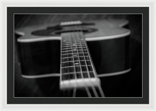 Black and White Acoustic Guitar - Framed Print from Wallasso - The Wall Art Superstore