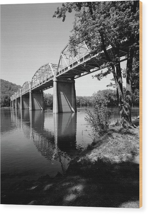 Black and White Bridge Over River - Wood Print from Wallasso - The Wall Art Superstore