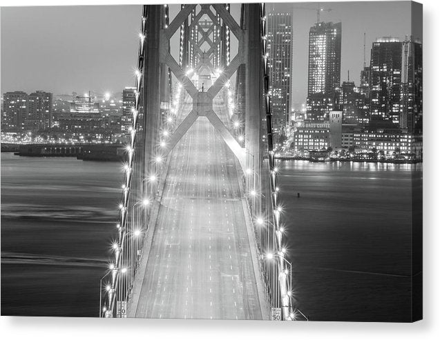 Black and White Bridge With Lights and Skyline - Canvas Print from Wallasso - The Wall Art Superstore