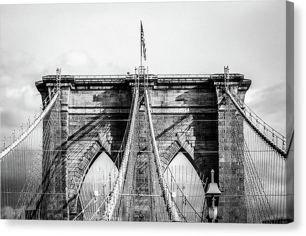 Black and White Brooklyn Bridge American Flag, New York City - Canvas Print from Wallasso - The Wall Art Superstore