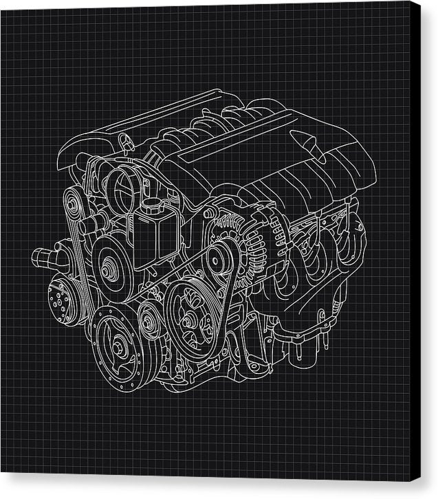 Black and White Car Engine Blueprint - Canvas Print from Wallasso - The Wall Art Superstore