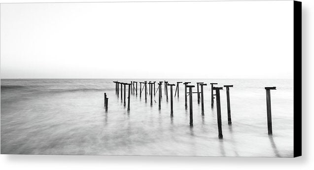Black and White Metal Remains of Old Pier, Panoramic - Canvas Print from Wallasso - The Wall Art Superstore