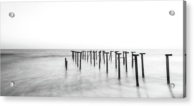 Black and White Metal Remains of Old Pier, Panoramic - Acrylic Print from Wallasso - The Wall Art Superstore