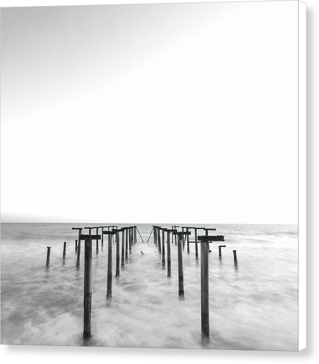 Black and White Metal Remains of Old Pier - Canvas Print from Wallasso - The Wall Art Superstore