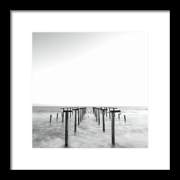 Black and White Metal Remains of Old Pier - Framed Print from Wallasso - The Wall Art Superstore