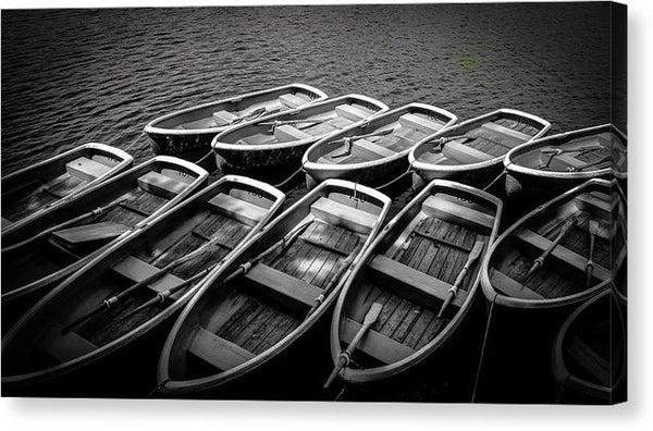 Black and White Row Boats Docked - Canvas Print from Wallasso - The Wall Art Superstore