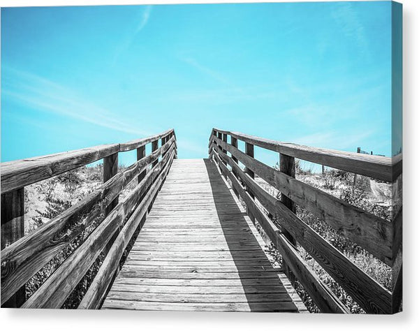 Black And White Wood Boardwalk Leading Uphill To Blue Sky - Canvas Print from Wallasso - The Wall Art Superstore