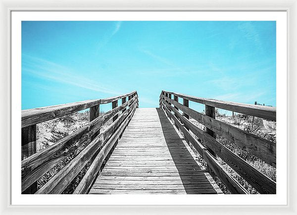 Black and White Wood Boardwalk Leading Uphill To Blue Sky - Framed Print from Wallasso - The Wall Art Superstore